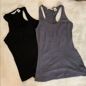 Two racerback tops grey and black
